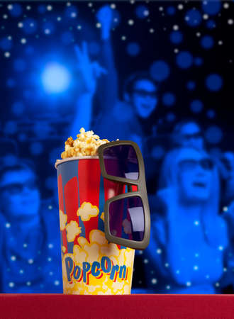 blockbuster: 3d glasses and popcorn on red armchair cinema. Blockbuster concept