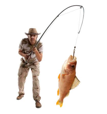 fisher: Fisherman with big fish - perch (Perca fluviatilis) isolated on white Stock Photo