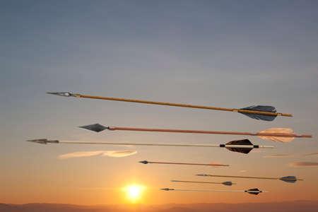 Volar antiguos viejas flechas de madera. El ejército de Genghis Khan Foto de archivo - 57752878