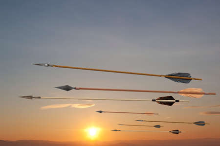 flecha: Volar antiguos viejas flechas de madera. El ejército de Genghis Khan