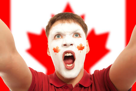 canadian football: Canadian fans at the stadium. Football, soccer fan