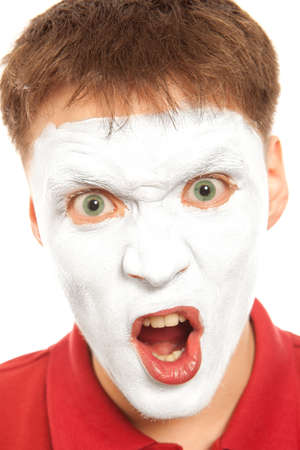 evil clown: Close-up portrait of a male evil mime. Isolated over white