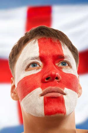 brit: English fans at the stadium. Football, soccer fan Stock Photo
