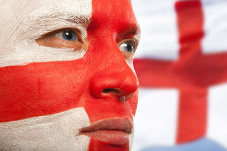 britannia: English fans at the stadium. Football, soccer fan Stock Photo