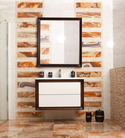handbasin: Stylish designed bathroom in luxury modern house Stock Photo