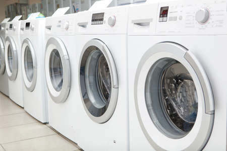 white goods: Sales of new washing machines in the store