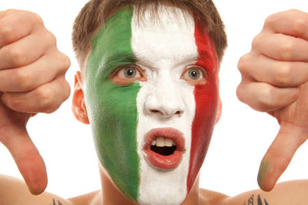 greeen: Italian fans at the stadium. Football, soccer fan. Isolated on white background