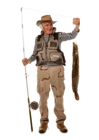 burbot: El pescador mayor con los pescados grandes - lota, bacalao (Lota lota) aislado en blanco