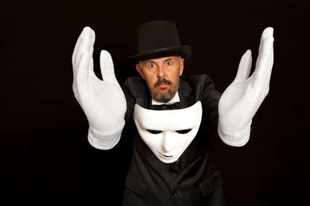 abracadabra: Magician in top hat showing trick. Magic, performance, circus, show concept