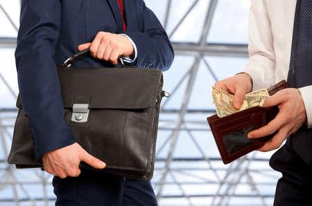 venal: Businessman taking bribe.  Business concept