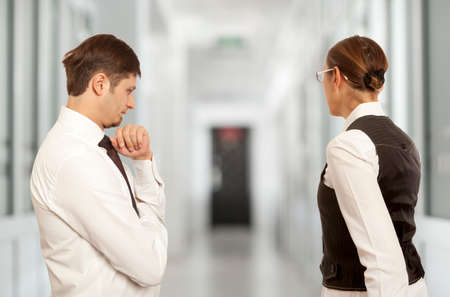 Arguing, conflict, business concept. The conflict between businessmen Stock Photo