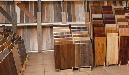 Sample parquet boards in hardware store, in home improvement warehouse exterior