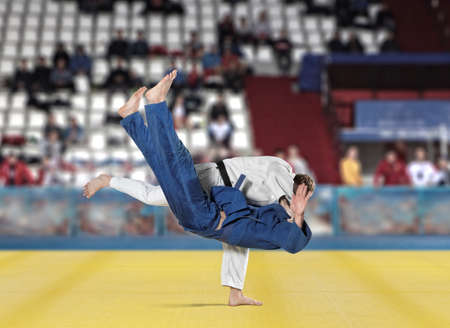 bout: The two judokas fighters fighting men on fans background