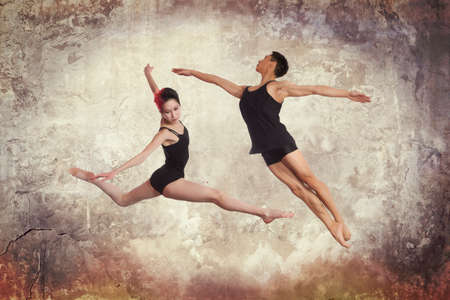 Young couple of modern ballet dancers - series of photos