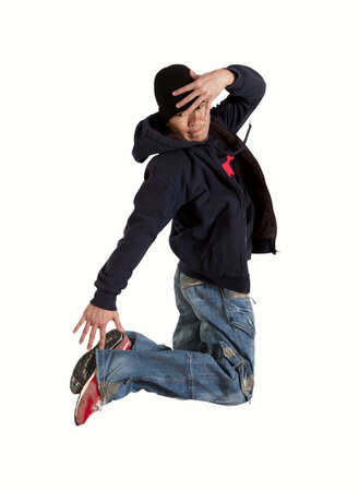 Young man break dancing isolated on white background