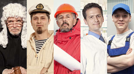 Montage about different professions. Set images photo