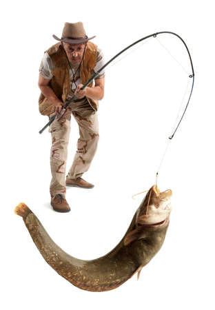 net: Fisherman with big river catfish isolated on white