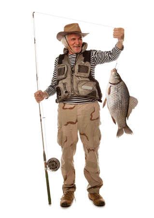 carassius auratus: Fisherman with big fish. Crucian carp (Carassius auratus gibelio) isolated on white Stock Photo