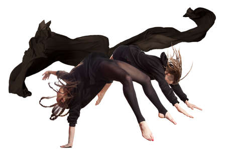 Pair of dancing contemporary dance in black body Stock Photo