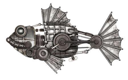 Steampunk style fish, european perch (Perca fluviatilis). Mechanical animal photo compilation 免版税图像