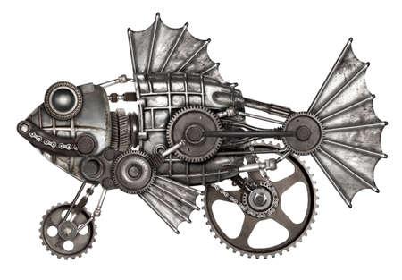 Steampunk style fish, european perch (Perca fluviatilis). Mechanical animal photo compilation Imagens