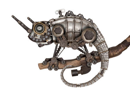 Steampunk style lizard. Mechanical animal photo compilation
