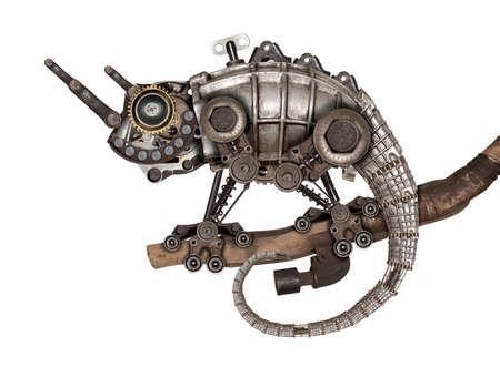 Steampunk 스타일 도마뱀입니다. 기계 동물 사진 편집