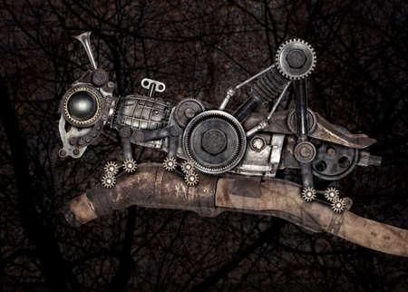 De sprinkhaan van de Steampunkstijl. Mechanische fotocompilatie van dieren