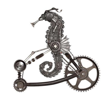 Steampunk style seahorse (Hippocampus). Compilación mecánica de fotos de animales Foto de archivo - 83664058