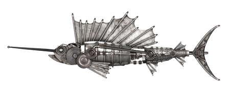 pez vela: Steampunk style sailfish. Mechanical animal photo compilation