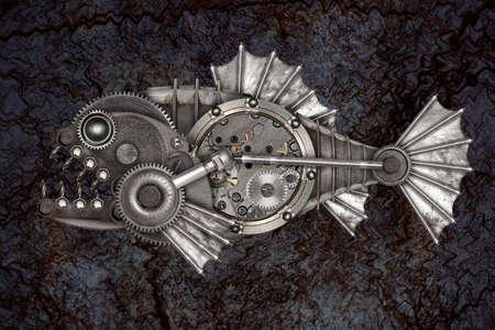 Steampunk style piranha. Mechanical animal photo compilation Stock Photo