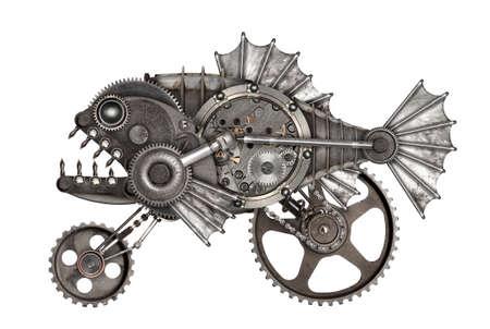 Steampunk style piranha. Mechanical animal photo compilation Standard-Bild