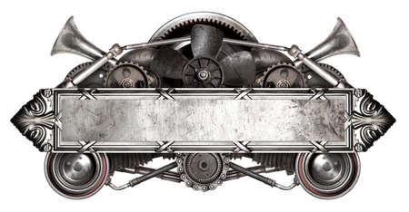 금속 프레임 및 오래 된 자동 예비 부품 자동차 격리 된 흰색 배경 스톡 콘텐츠