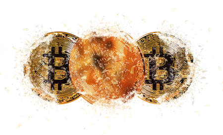 Gold bitcoin coin. Bitcoin cryptocurrency Stock Photo