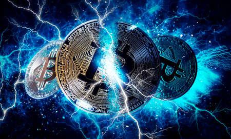 Gold bitcoin coin. Bitcoin cryptocurrency Stock Photo
