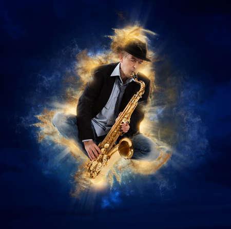 Saxophonist. Man playing on saxophone