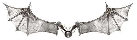 Steampunk wings bat isolated. Old auto spare parts car on the white background