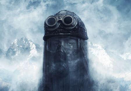 Post-apocalyptic futuristic concept. Fantasy. Steampunk. Cyberpunk Stock Photo