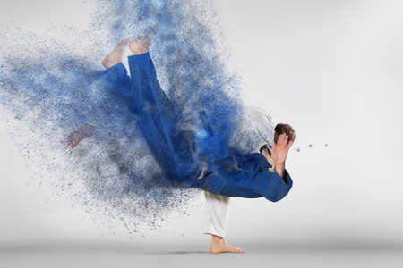 Battle of two fighters judo sports judo competitions Stok Fotoğraf