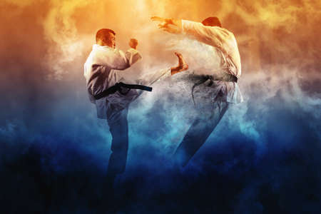 Martial arts masters, karate practice. Two male karate fighting