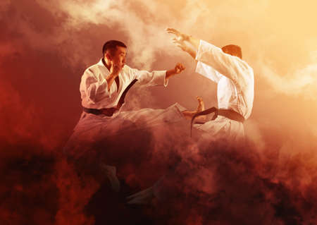 Martial arts masters, karate practice. Smoke background