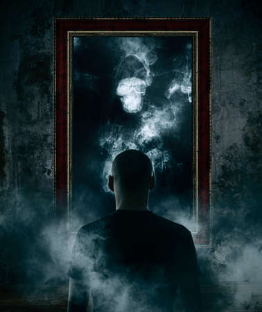 Mirror. Terrible ghost on dark smoke background