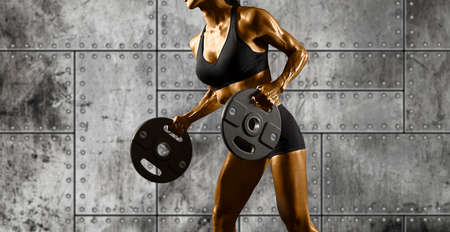 Woman with hammer sledge. Fitness training Stockfoto