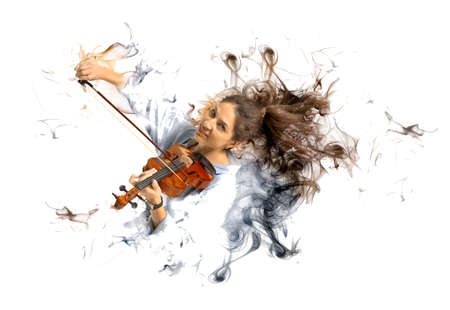 Playing the violin. Young woman playing violin on smoke background Stok Fotoğraf