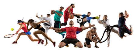 Enorme collage multi sport taekwondo, tennis, calcio, basket, calcio, judo, ecc