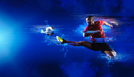Soccer player art. Creative image template brochures, flyers, presentations, logo, print, leaflet, banners