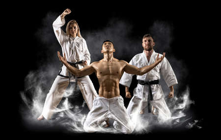 Three martial arts masters, karate, taekwondo practice. Smoke background