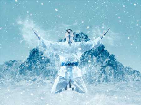 Martial arts masters, karate practice. Winter background