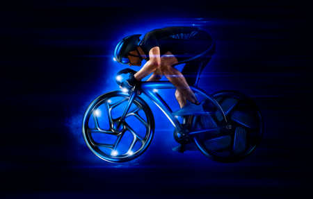 Man racing cyclist in motion on dark blue background