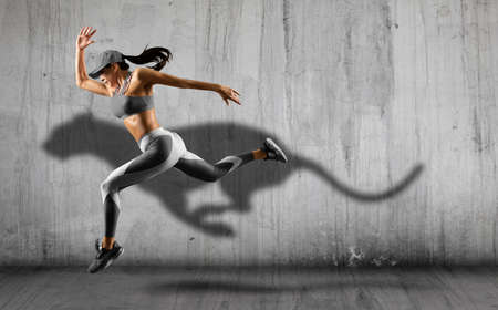 Sporty young woman running on wall background. Collage woman running